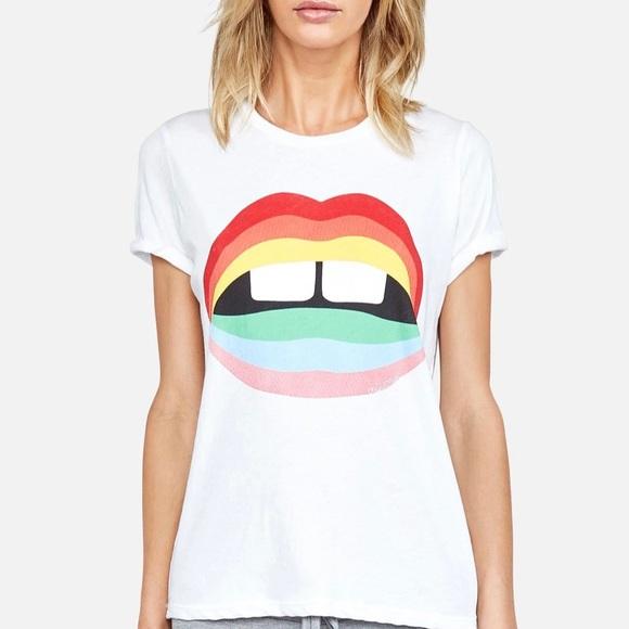 Lauren Moshi Rainbow Gap Edda Lips Vintage Tshirt